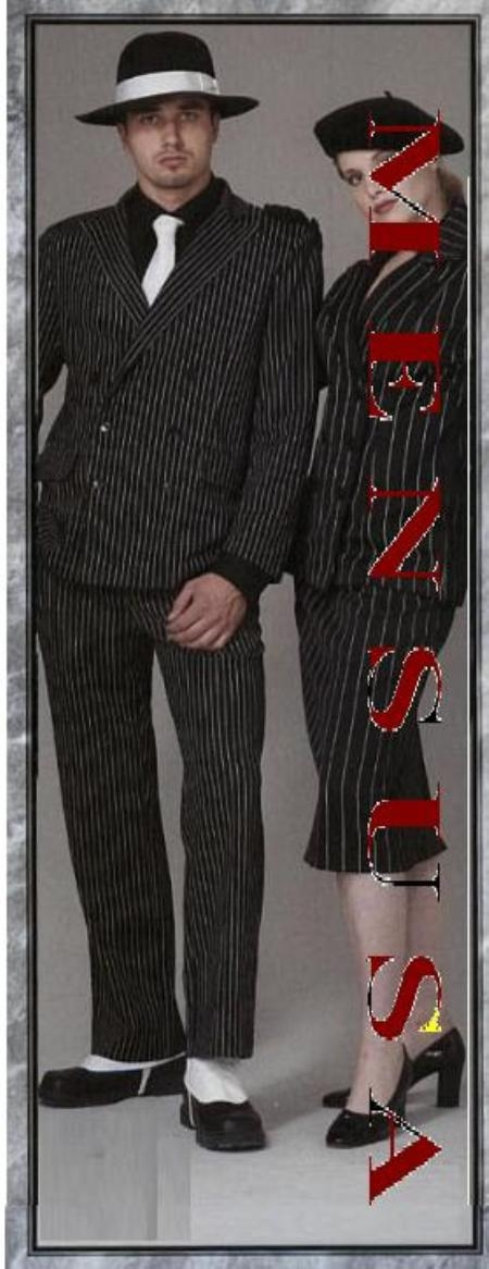 SKU# HLM766 Classic Gangster Jet Black & White Pinstripe Double Breasted Fashion Suits (Not Long)