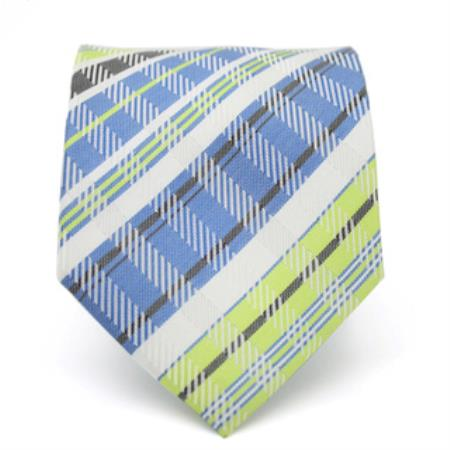 Classic Slim Green/Blue Glen Necktie with Matching Handkerchief - Tie Set