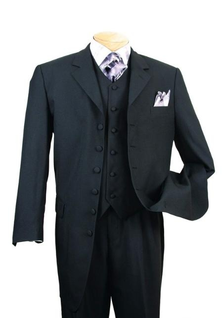 SKU#EMIL_58TA  Classic Long Solid Black Fashion Zoot Suit $120