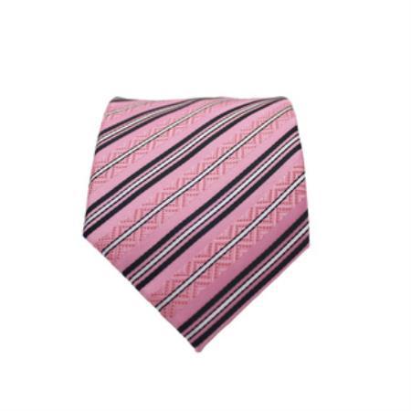 Slim Classic Necktie with Matching Handkerchief - Tie Set Pink