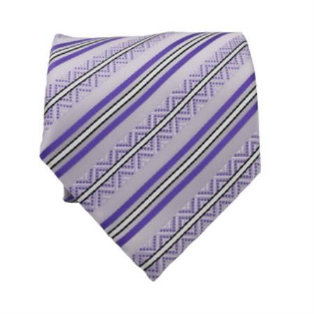 Buy KA6702 Slim Classic Purple Striped Necktie Matching Handkerchief - Tie Set
