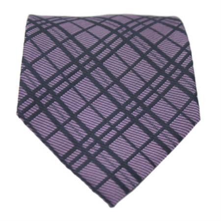 Slim Purple Classic Gentlemans Necktie with Matching Handkerchief - Tie Set