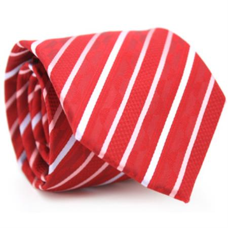Slim Classic Red Necktie with Matching Handkerchief - Tie Set