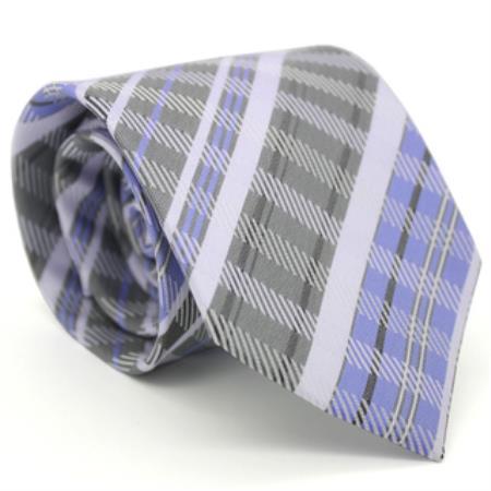 Buy KA8656 Classic Slim Purple Glen Necktie Matching Handkerchief - Tie Set