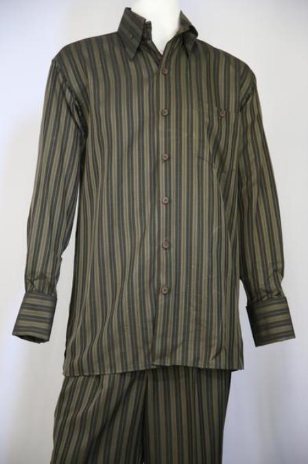 Men's Classic Stripe Casual Two Piece Walking Outfit For Sale Pant Sets Suit Olive 2pc Zoot Suit