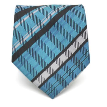 Classic Slim Tourquoise Glen Necktie with Matching Handkerchief - Tie Set