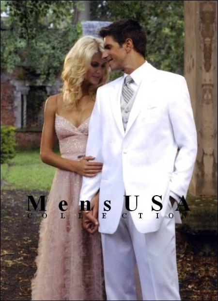 SKU# TCQ664 Classic 1 Button White Dress Notch Lapel Tuxedo Single Breasted