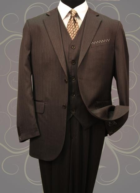 SKU#JX3868 Classic Vested 3 Pieces 2 Button Dark Brown Stripe ~ Pinstripe Mens Suit  Discounted Sale