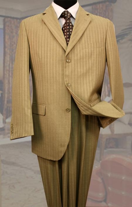 SKU#LQ3390 Classic 3PC 3 Button Bronze Tone On Tone Stripe Mens Suit $149
