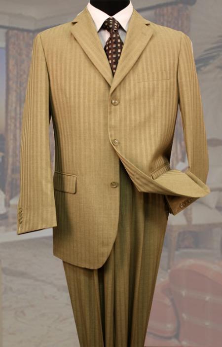 SKU#LQ3390 Classic 3PC 3 Button Bronze Tone On Tone Stripe ~ Pinstripe Mens Suit