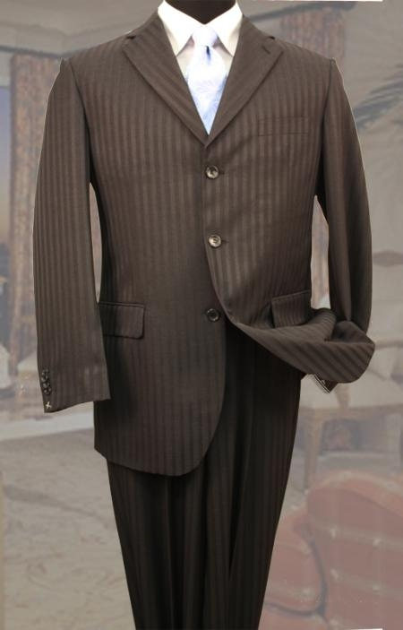 SKU#BR9044 Classic 3PC 3 Button Brown Tone On Tone Stripe ~ Pinstripe Mens Suit