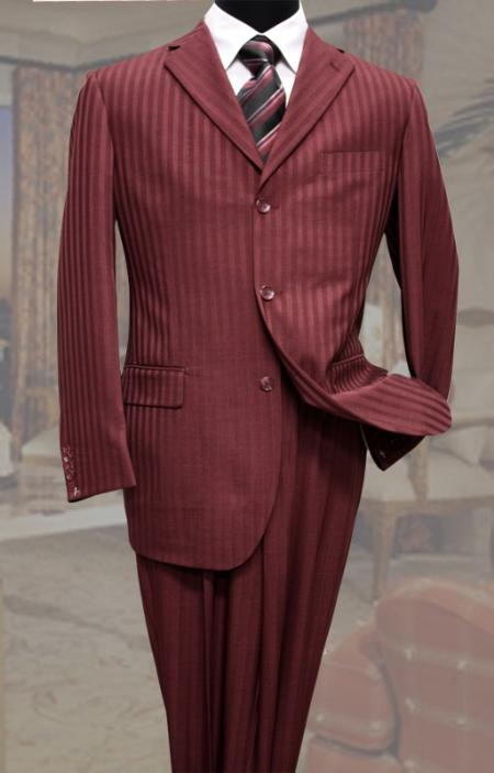 SKU#JF4288 Classic 3PC 3 Button Burgundy Tone On Tone Stripe Mens Suit $139