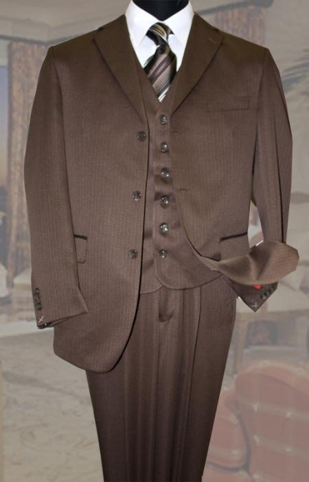 SKU#DA2000 Classic 3PC 3 Button Chocolate Tone On Tone Stripe Mens Suit $139