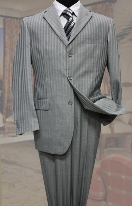 SKU#LQ3390 Classic 3PC 3 Button Gray Tone On Tone Stripe Mens Suit $139