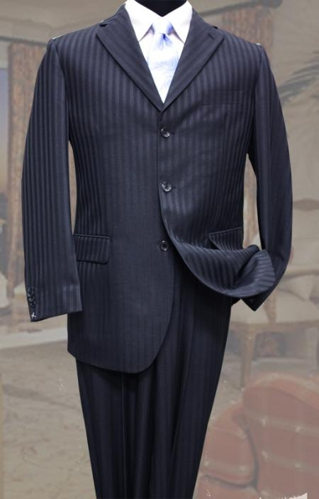 SKU#TP4311 Classic 3PC 3 Button Navy Tone On Tone Stripe Mens Suit $109