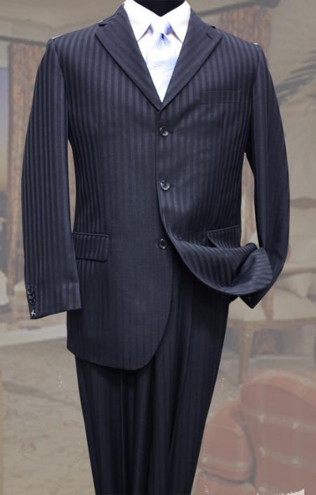 SKU#TP4311 Classic 3PC 3 Button Navy Tone On Tone Stripe ~ Pinstripe Mens Suit $109