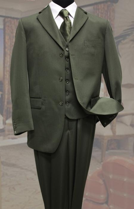 SKU#RZ3588 Classic 3PC 3 Button Olive Tone On Tone Stripe Mens Suit $139