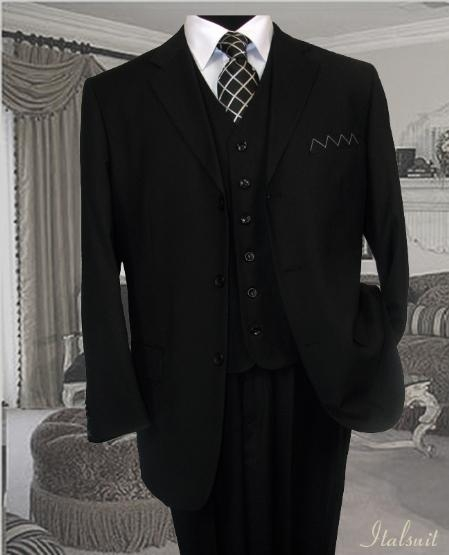 SKU#PZ3768 Classic 3PC 3 Button Solid Black Vested Mens Suit With Flat Front Pants $199