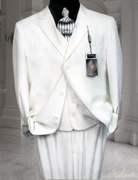 SKU#GE3442 Classic 3PC 3 Button Solid White Vested Mens Suit With Flat Front Pants $199