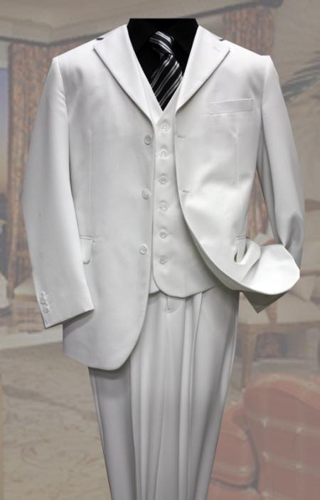 SKU#XP2790 Classic 3PC 3 Button White Tone On Tone Stripe Mens Suit $139
