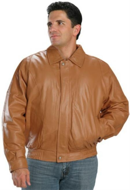 MensUSA.com Classic Bomber Leather Jacket In Mango Color(Exchange only policy) at Sears.com