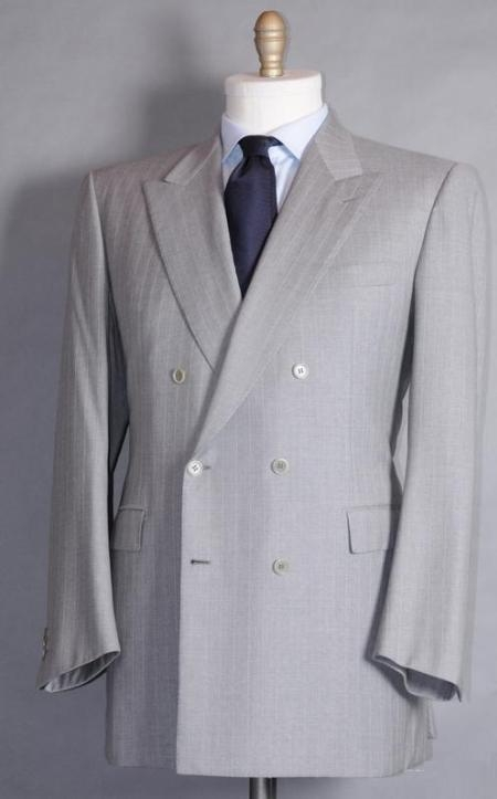 SKU#RP169 Classic Double Breasted Color Light Gray Pinstripe (Silver) Mens Suit With Tone On Tone St