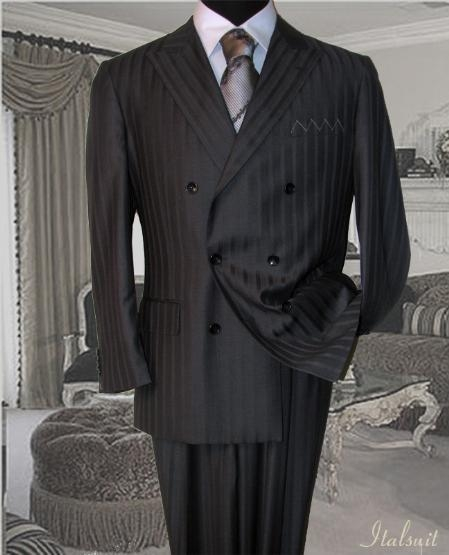 SKU#KA860 Classic Double Breasted Color Charcoal Grey Mens Suit With Tone On Tone Stripe $229