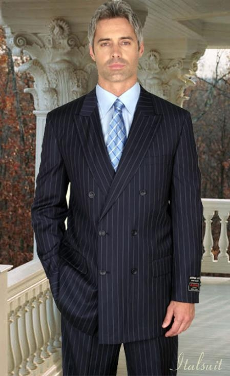 SKU#RA143 Classic Double Breasted Color Navy Mens Suit With Pinstripe $179