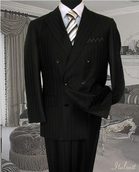 SKU#KD715 Classic Double Breasted Color Black Mens Suit With Tone On Tone Stripe $249