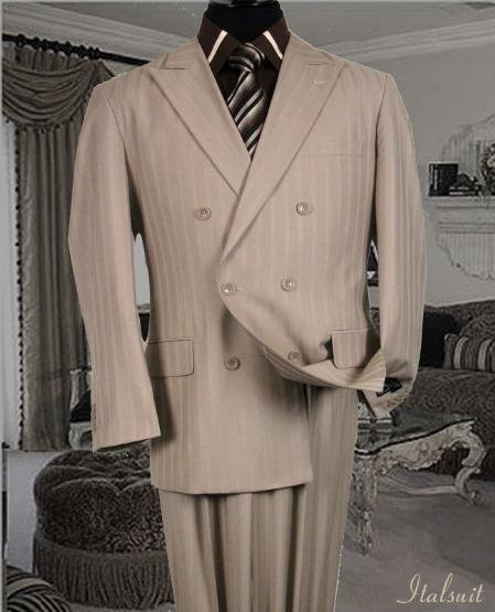 SKU#HA769 Classic Double Breasted Color Tan Mens Suit With Tone On Tone Stripe $295