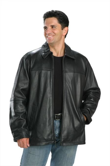 SKU#KL340 Classic Hip Length Zipper Top Grade New Zealand Lambskin Jacket Black $139
