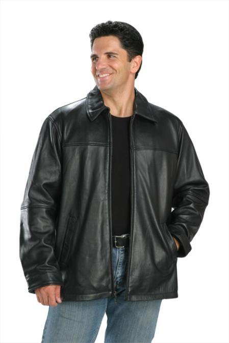 SKU#KL340 Classic Hip Length Zipper Top Grade New Zealand Lambskin Jacket Black $139