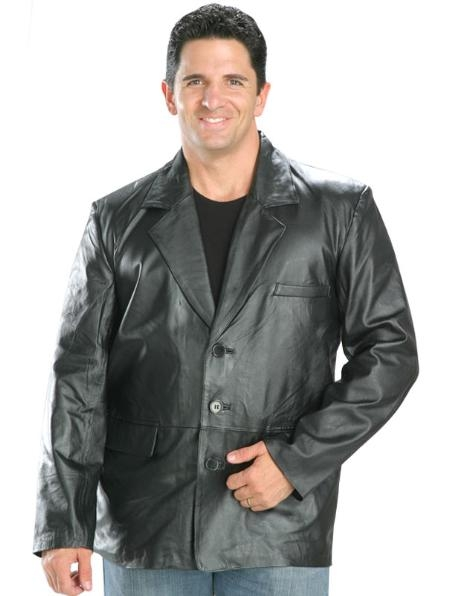 SKU#DE433 Classic Mens 3 Button Leather Blazer Black $185
