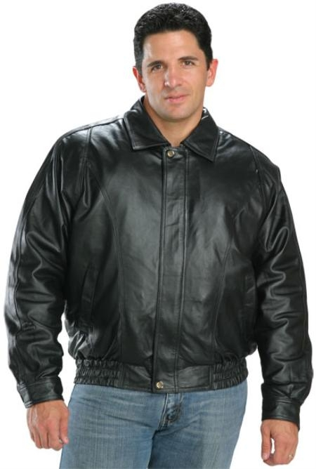 SKU#OP221 Classic Mens Leather Bomber Jackets Black $199