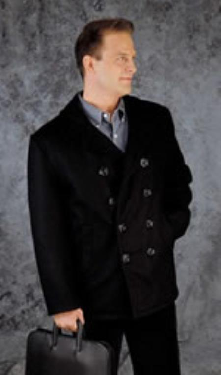 SKU#UX399 Classic Pea Coat Dark Navy $189