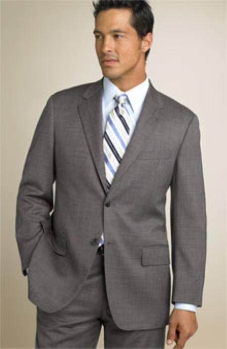 SKU#ANA_Gry_202 Classic Two Button Mid Gray~Grey(Not Very light  & Not Dark Gray) Business Suit $175