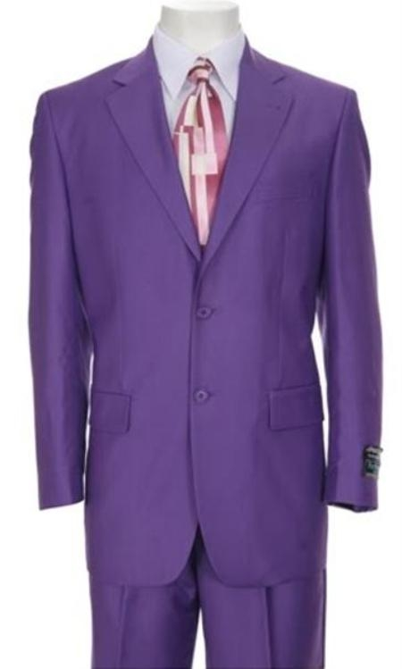 SKU#TT77 Classic Ultra Smooth Purple Wool Suit Color 2 Button Style Flat Front Pants $159