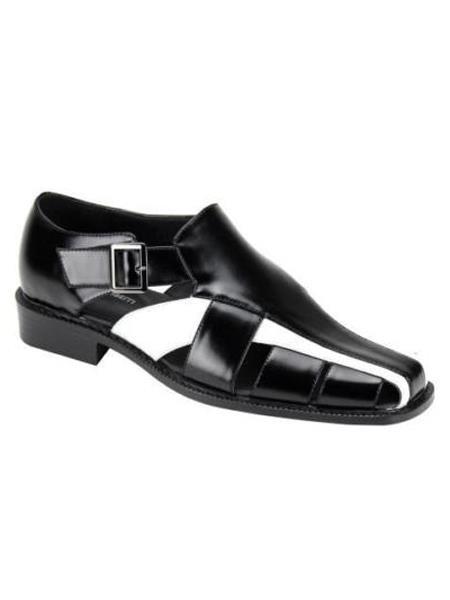 Mens Black/White Synthetic Closed Toe Dress Mens Dress Sandals