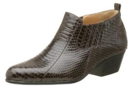 SKU#MU15064 CoCo Brown Pointy toe demi-boot in genuine snake skin with side gore $700