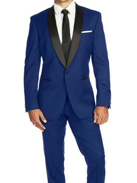 Mens Cobalt Blue ~ Indigo ~ Bright Blue ~ Teal  ( Light Dark Navy ) With Black Lapel Shawl lapel 1 Single Button Tuxedo Suit