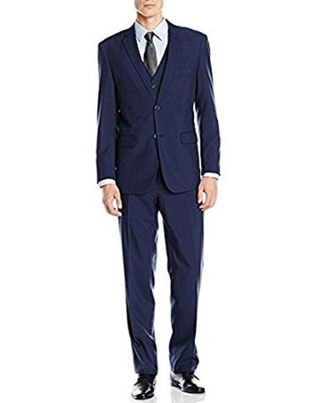 Groomsmen Suits Alberto Nardoni Suit Slim Skinny European fit Vested 3 Pieces Suit  Side Vented Cobalt Blue