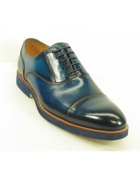 Men's Cobalt Fashionable Carrucci Genuine Leather Oxford Shoes  - Teal Dress Shoe - Antique blue Shoe