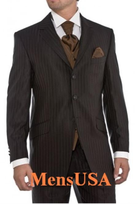 SKU#ZK870 CoCo Brown tone on tone (Shadow Pinstripe) Wool Feel Touch Poly Rayon Fine Quality and Exceptional Cut and Design