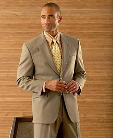 SKU# HW62 Coffe Tan ~ Beige/ Mens 2 Button Super Wool Double Side Vent