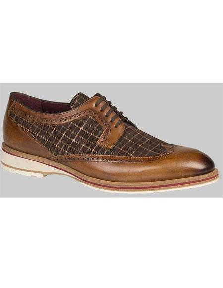 Buy GD497 Men's Leather Sole Cognac/Brown Plaid Spectator Dress Shoes Authentic Mezlan Brand