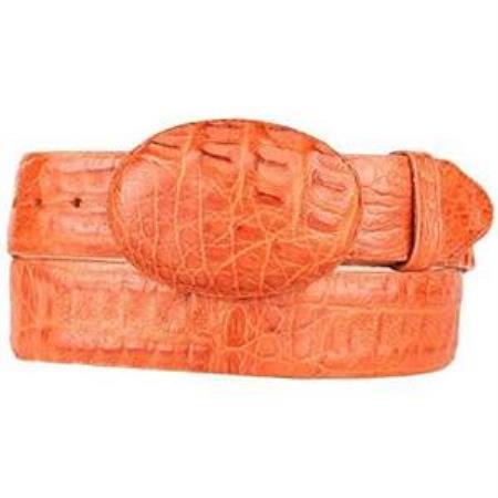 Men's Cognac Original Caiman Hornback Skin Western Style Belt