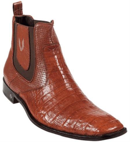 Men's Genuine Cognac caiman ~ World Best Alligator ~ Gator Skin Belly Dress Boot Ankle Dress Style For Man