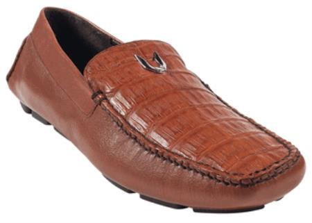 Mens Cognac Genuine Caimen Belly Driver