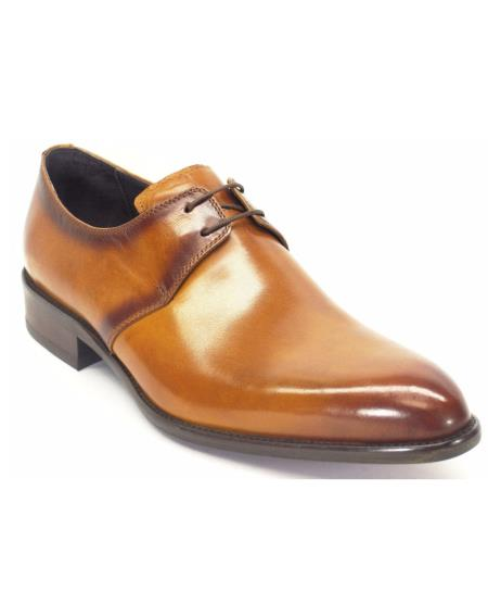 Carrucci Genuine Cognac Lace Up Fashionable Calfskin Leather Oxford Shoes