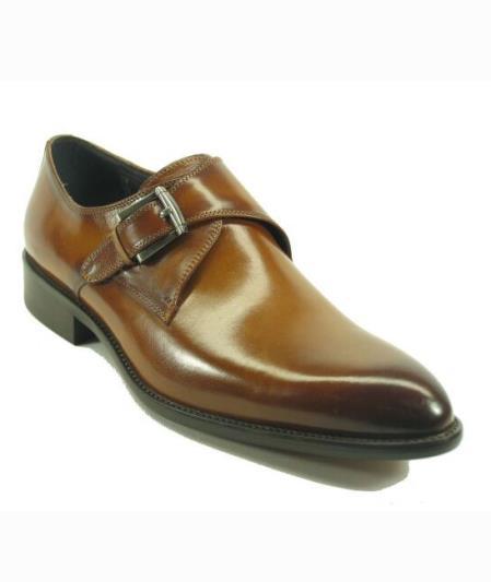Mens Fashionable Carrucci Cognac Slip On Buckle Style Shoes
